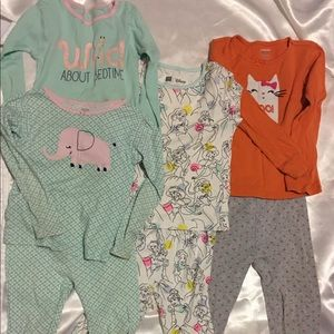 5T Girls Pajamas 3 Sets Bundle